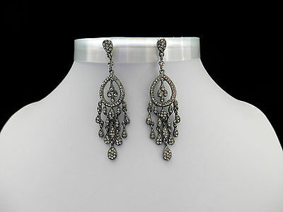 Vintage Chandelier Earrings Black Diamond Australia Crystal Black Tone E2156A