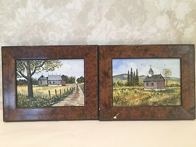 Beautiful Vintage Oil Painting Of Countryside Scene On Wood Board, Signed
