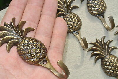 6 small PINEAPPLE BRASS HOOK COAT WALL MOUNTED HANG TROPICAL old style hook 4""