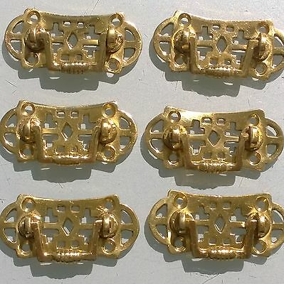 6 tiny heavy handles polished pull solid brass heavy old vintage style drawer 2""