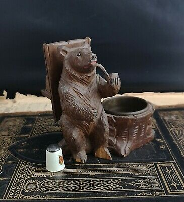 Antique Black Forest bear figural match safe and ashtray