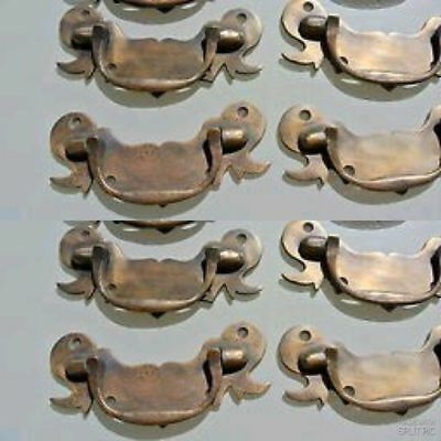 "8 heavy old look BOX drawer pulls handles for antiques brass vintage style 5"" B"