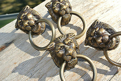 4 TINY PULLS handles  heavy LION SOLID BRASS old style screws house antiques
