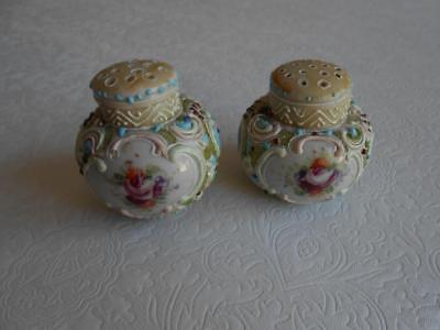 Antique Nippon Handpainted Roses & Moriage Salt & Pepper