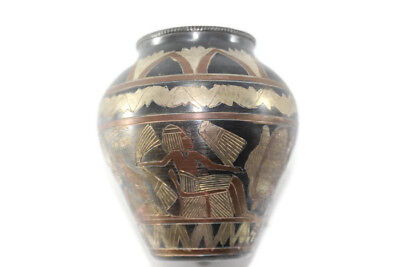 Vintage Egyptian Engraved Pharaoh Copper Brass  Pot
