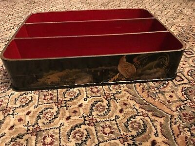 Oriental Hand Painted Laquer Serving Snack Mail Dresser Tray Made in France
