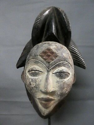 Old Maiden Punu Spirit Mask Gabon Africa Fes-Gb974