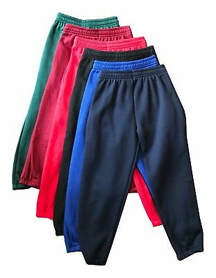 Boys Girls Childrens Kids School PE Fleece Jogging Tracksuit Bottoms Trousers