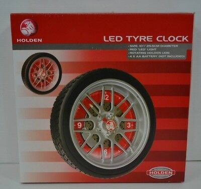 Holden Official Merchandise Brand New Red Led Light Battery Operated Tyre Clock