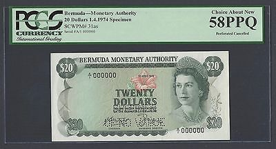 Bermuda 20 Dollars 1-4-1974 P31as Specimen Perforated About Uncirculated