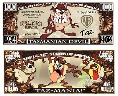 Tasmanian Devil Million Dollar Bill **Novelty Money** FREE Sleeve