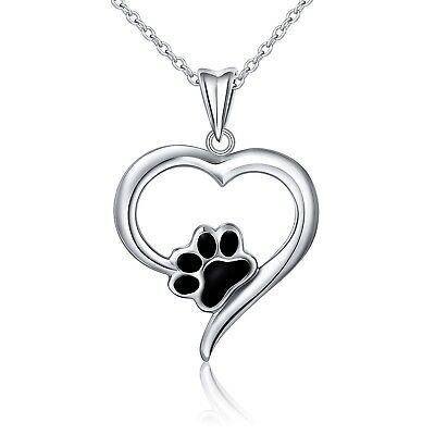 925 Sterling Silver Forever Love Heart Puppy Paw Pendant Necklace for Women,18""