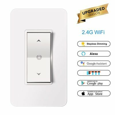 Wireless Smart 1Gang Dimmer WiFi Light Touch Switch Work with Alexa Google IFTTT
