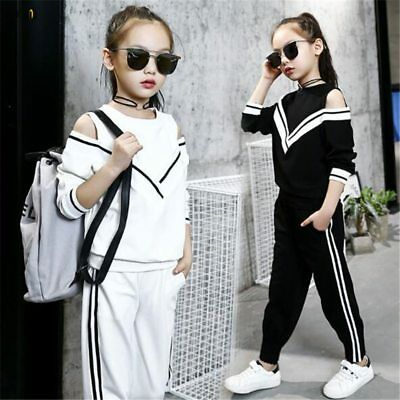 Teenage Autumn for 4-12Y Girls Clothing Set Long Sleeve Top+Pants Sport Suit