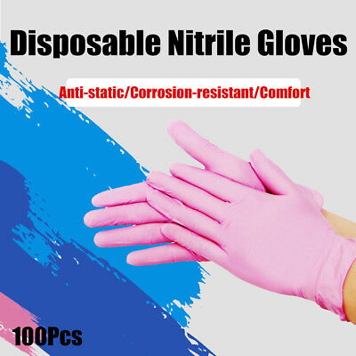Large Bodyguards PINK Nitrile Latex Free Disposable Gloves Box of 100