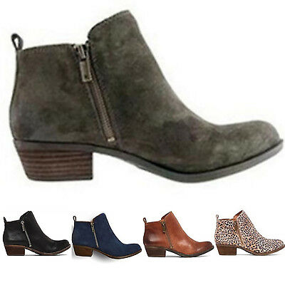 Women's Chunky Booties Low Block Heels Ankle Boots Shoes Zip Casual Shoes Size