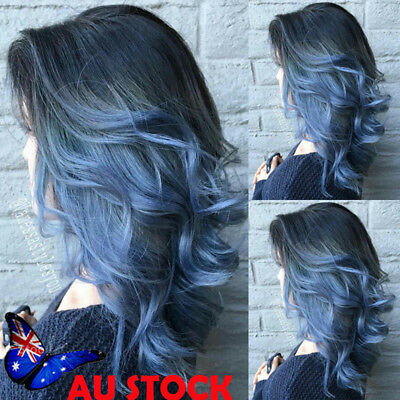 16'' Bob Ombre Grey Black Blue Short Wavy Wig Womens Synthetic Cosplay Hair Wigs