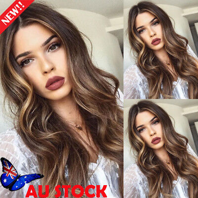 AU Women 28'' Long Curly Wavy Hair Full Wig Ombre Black Blonde Wigs Cosplay Wigs