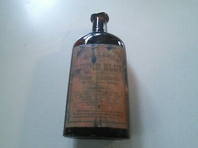 Antique Challenge Liquid Blue Bottle with Label Boston