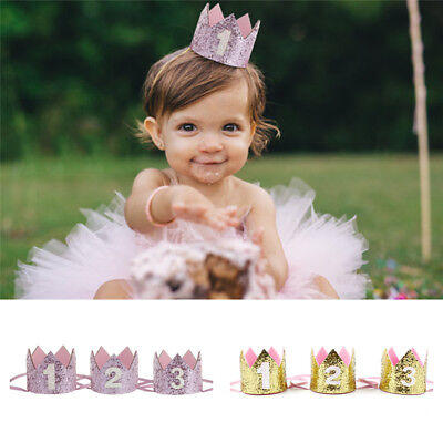 Baby Birthday Crown Hat 1st 2nd 3rd Cake Smash outfit Party Photoshoot Girls