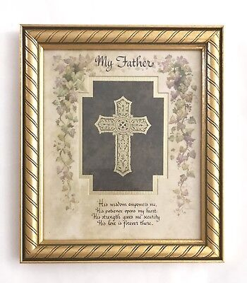 My Father...by HOME INTERIORS•Framed and Matted Cross Image with Verse•NOS