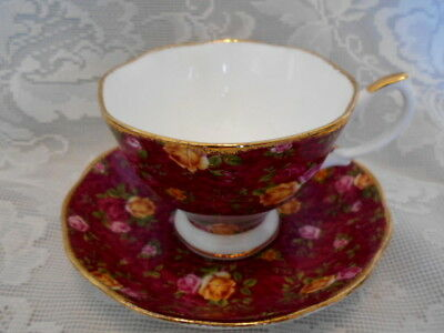 DOULTON ROYAL ALBERT Old Country Roses Burgundy Chintz Bone China Cup & Saucer