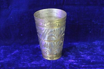 Old Vintage Antique Rare Brass Lassi Glass Home Decor Collectible PR100