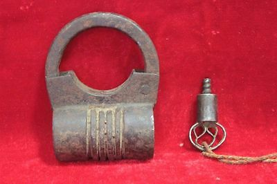 Vintage Old Antique Rare Iron Lock and Key Collectible PU-56