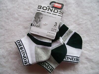 BNWT Baby Boy's Bonds 3 Pack Black, Grey & White Sportlet Socks size 00-1 & 1-2