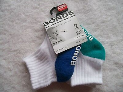 BNWT Baby Boy's Bonds 2 Pack Quarter Crew Socks Shoe Size 00-1 0-6 Months