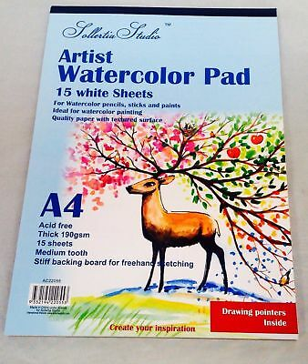 2 x Sketch Pad Book Art Watercolour Textured  A4 190GSM Drawing Sketching
