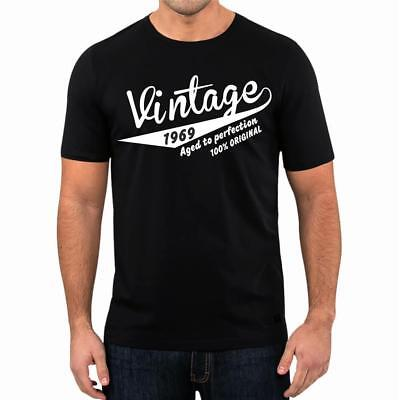50th Birthday Present Gift Year 1969 Aged To Perfection Retro T-Shirt Unisex Tee