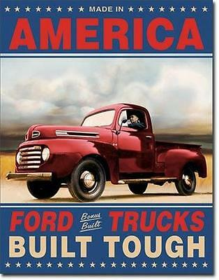 Ford Trucks made In America Built Tough Classic Cars  Metal Tin Sign