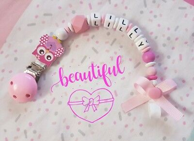Personalised Dummy Clip Girl Boy Wooden Pink Blue 💕Gift 💞 Cute