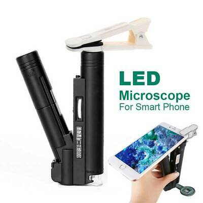 Zoom 100X Magnifying LED Smart Phone Clip Microscope Jewelry Gem Loupe Magnifier