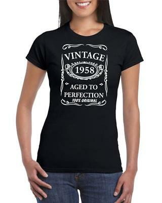61st Birthday Present Gift Year 1958 Aged To Perfection Womens Funny TShirt