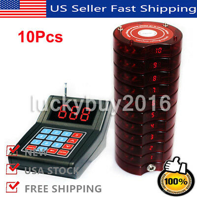10X Restaurant Guest Coaster Pager Wireless Table Waiting Calling Queuing System