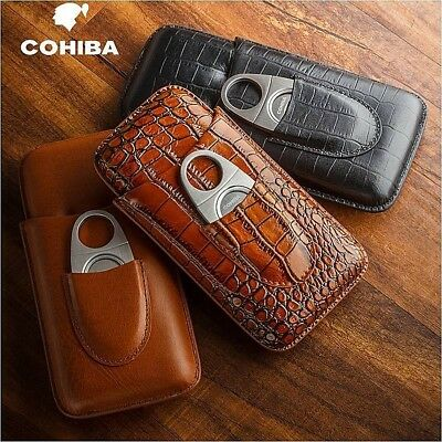 COHIBA Genuine Leather Cigar Travel Holder Case 3 Count With Cigar Cutter