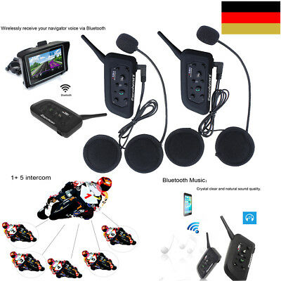 2x Motorrad Helm Interphone Bluetooth Intercom Headset V6 1200m Outdoor Intercom