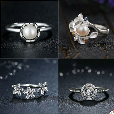 Fashion Silver Plated Flower Pearl Women Jewelry Wedding Birth Ring Size 6-10