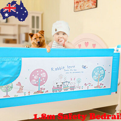 1.8m Baby Safety Bed Rail Toddler Kids Bedrail Fold Cot Guard Protection Blue