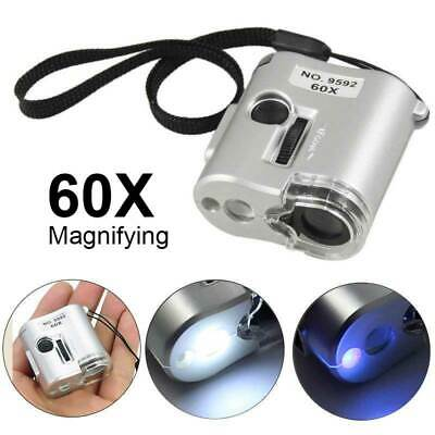 Pocket 60X Magnifying Magnifier UV LED Light Jeweler Loupe Glass Microscope AU