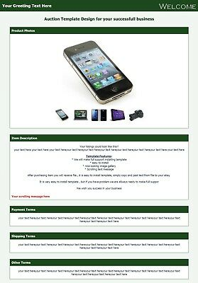 Ebay listing template , HTML Template, pretty Green Listing, Increase selling