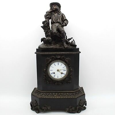 Antique Charles X Pendulum mantel Clock in Bronze and Marble - 19th century