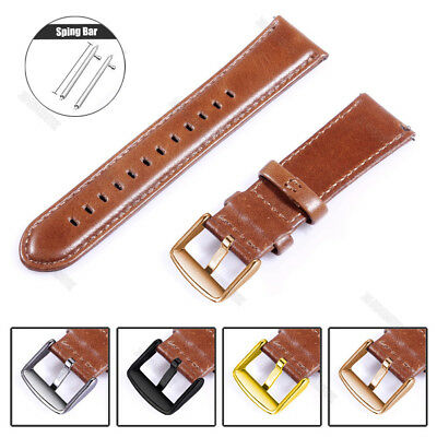 18 20 22mm Quick Release Retro Leather Band Wrist Watch Strap With Ss Buckle