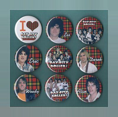 Bay City Rollers 56mm Button Badges 9 to Choose From FREEPOST Set 5 Shang a Lang