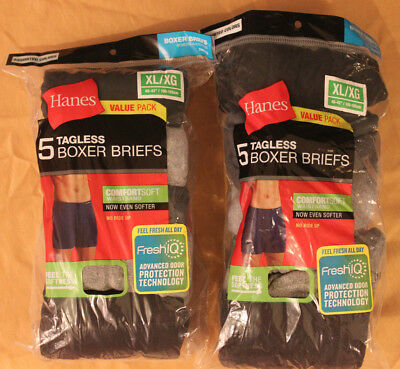 TWO 5 Packs of Hanes Tagless Boxer Briefs size XL (10 boxer briefs total)