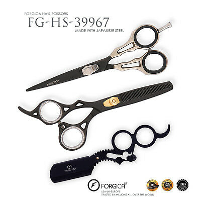 Black Professional Hair Cutting Thinning Scissors Barber Shears Hairdressing Set