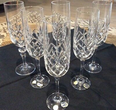 6 Bohemia Fine Cut Crystal 24% Pbo Tall 21 Cms Champagne/sparkling Wine Glasses