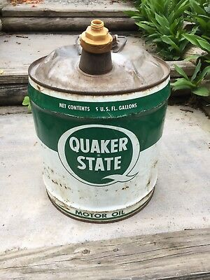 Antique Vintage 5 Gallon Oil Can Advertising Quaker State Motor Oil man cave